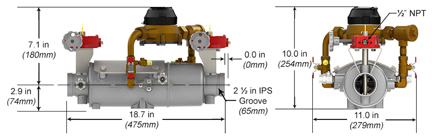 Deringer Double Check Detector Assembly Backflow Preventer DCDA-II Measures and Materials