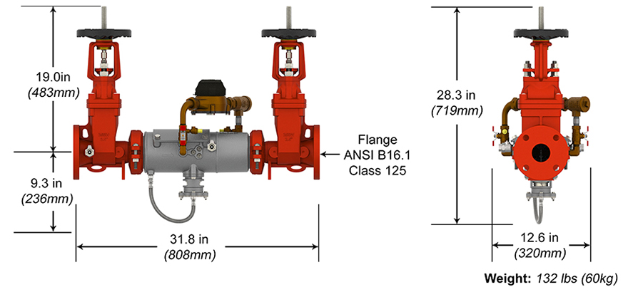 Deringer Reduced Pressure Detector Assembly Backflow Preventer RPDA-II Measures and Materials