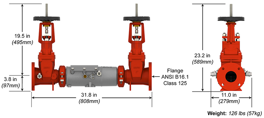 Deringer Double Check Backflow Preventer Measures and Materials