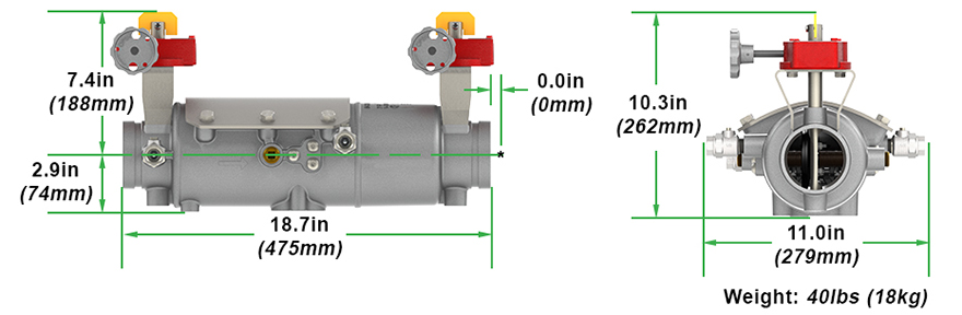 Magnum Double Check Backflow Preventer DC Measures and Materials